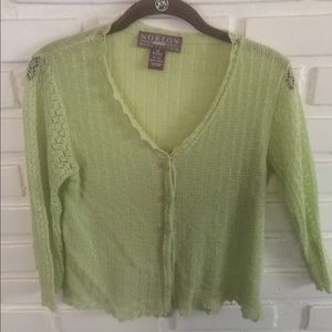 Soft Lime green cardigan with scallop detail